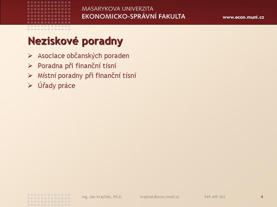 www.econ.muni.cz Ing. Jan Krajíček, Ph.D. krajicek@econ.muni.cz 549 495 3634 Neziskové poradny  Asociace občanských poraden  Poradna při finanční tí