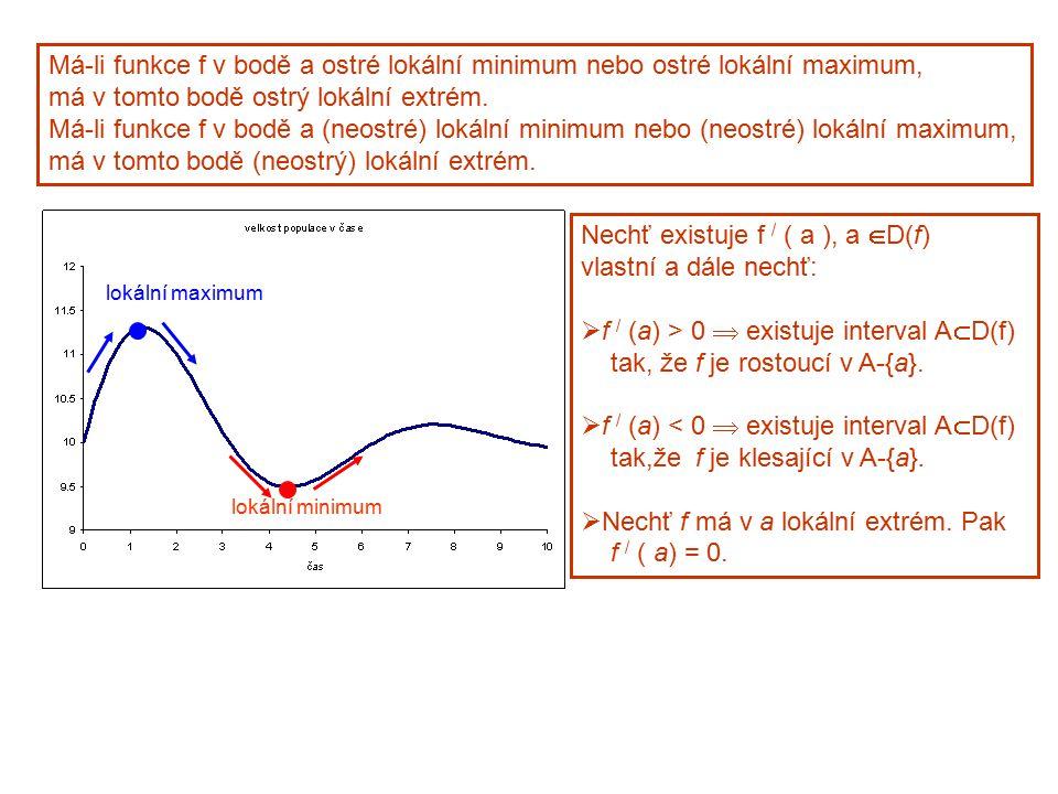 Má-li funkce f v bodě a ostré lokální minimum nebo ostré lokální maximum, má v tomto bodě ostrý lokální extrém. Má-li funkce f v bodě a (neostré) loká