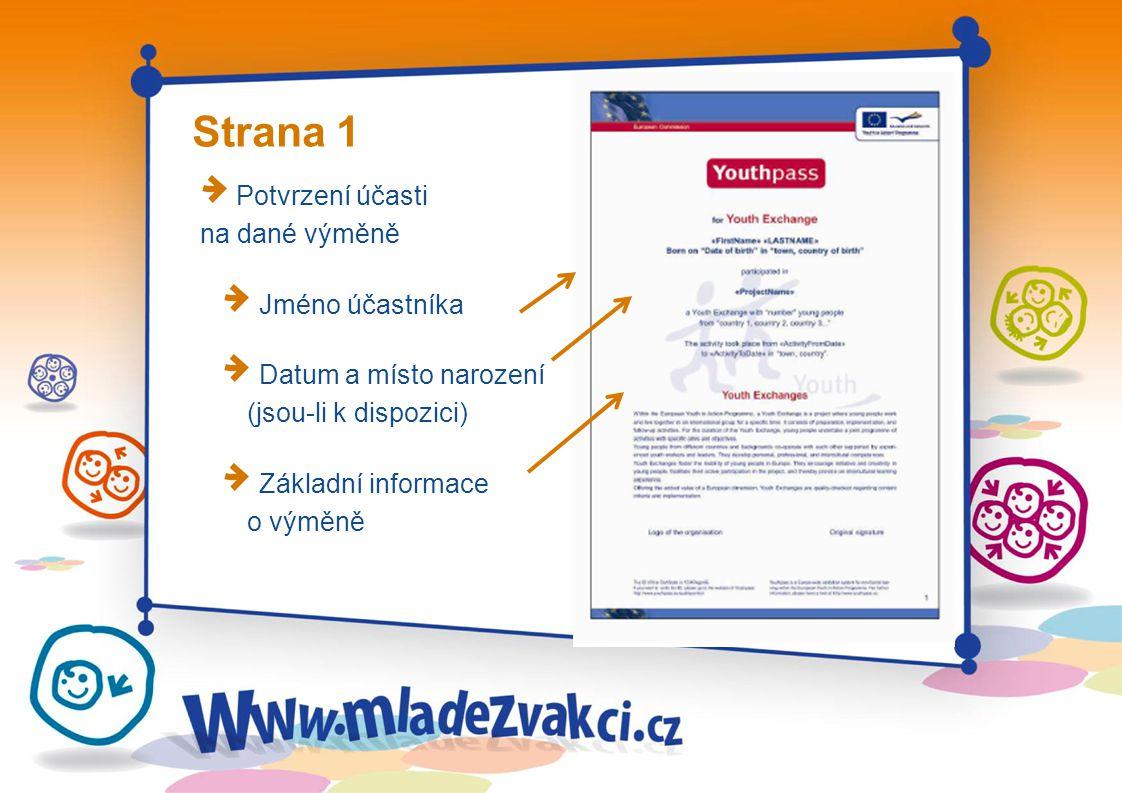 Strana 1 Potvrzení účasti na dané výměně Jméno účastníka Datum a místo narození (jsou-li k dispozici) Základní informace o výměně