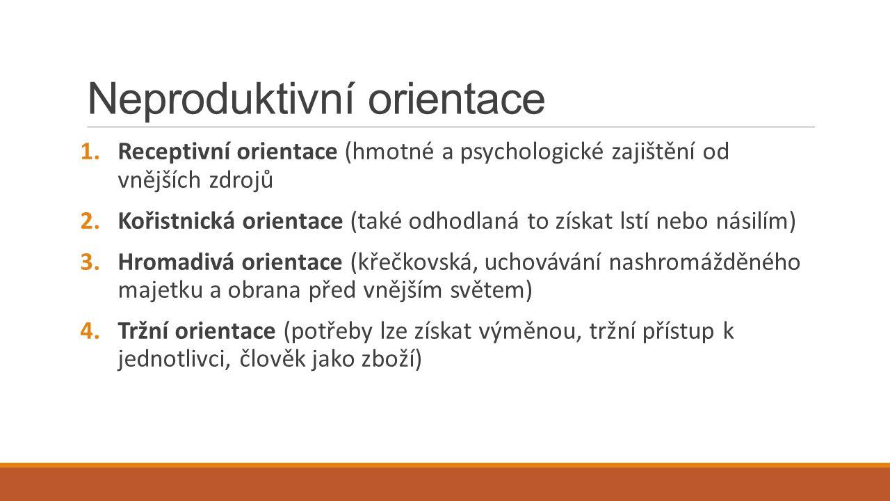 Neproduktivní orientace 1.Receptivní orientace (hmotné a psychologické zajištění od vnějších zdrojů 2.Kořistnická orientace (také odhodlaná to získat