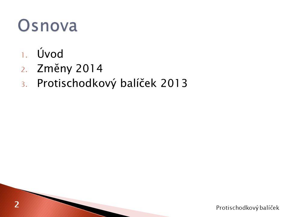 1. Úvod 2. Změny 2014 3. Protischodkový balíček 2013 Protischodkový balíček 2