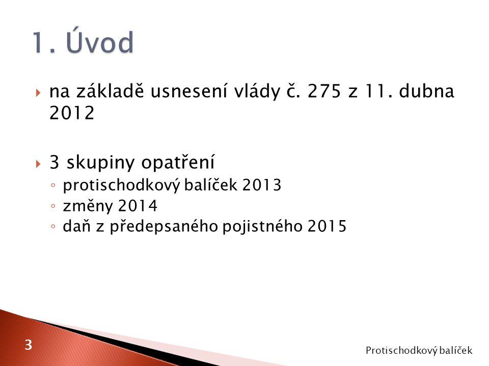  na základě usnesení vlády č. 275 z 11. dubna 2012  3 skupiny opatření ◦ protischodkový balíček 2013 ◦ změny 2014 ◦ daň z předepsaného pojistného 20