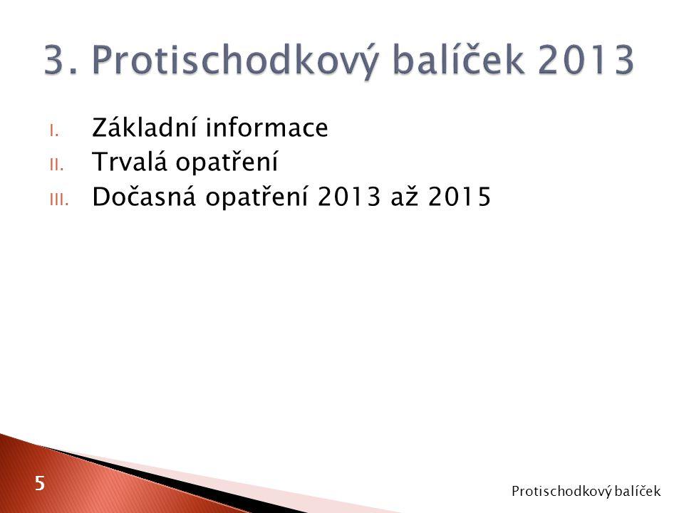 I. Základní informace II. Trvalá opatření III. Dočasná opatření 2013 až 2015 Protischodkový balíček 5