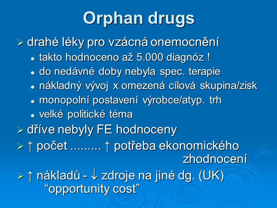 Orphan drugs  drahé léky pro vzácná onemocnění takto hodnoceno až 5.000 diagnóz .