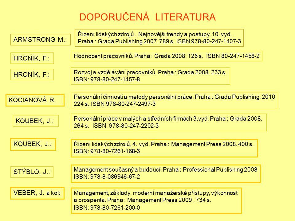 DOPORUČENÁ LITERATURA KOUBEK, J.: Personální práce v malých a středních firmách 3.vyd. Praha : Grada 2008. 264 s. ISBN: 978-80-247-2202-3 KOCIANOVÁ R.