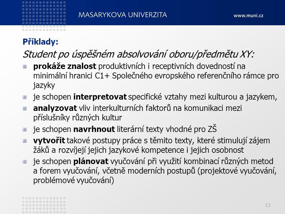 13 Příklady: Student po úspěšném absolvování oboru/předmětu XY: prokáže znalost produktivních i receptivních dovedností na minimální hranici C1+ Společného evropského referenčního rámce pro jazyky je schopen interpretovat specifické vztahy mezi kulturou a jazykem, analyzovat vliv interkulturních faktorů na komunikaci mezi příslušníky různých kultur je schopen navrhnout literární texty vhodné pro ZŠ vytvořit takové postupy práce s těmito texty, které stimulují zájem žáků a rozvíjejí jejich jazykové kompetence i jejich osobnost je schopen plánovat vyučování při využití kombinací různých metod a forem vyučování, včetně moderních postupů (projektové vyučování, problémové vyučování)