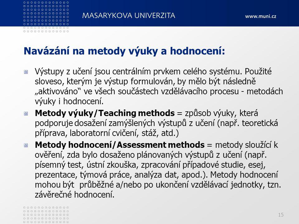 15 Navázání na metody výuky a hodnocení: Výstupy z učení jsou centrálním prvkem celého systému. Použité sloveso, kterým je výstup formulován, by mělo
