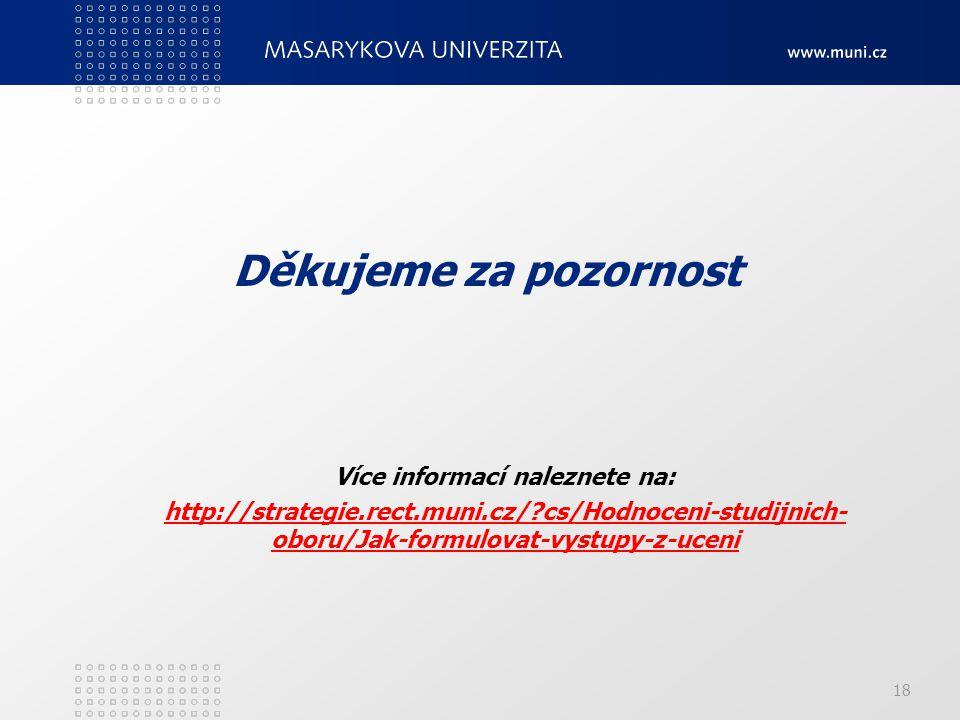 18 Děkujeme za pozornost Více informací naleznete na: http://strategie.rect.muni.cz/?cs/Hodnoceni-studijnich- oboru/Jak-formulovat-vystupy-z-ucenihttp