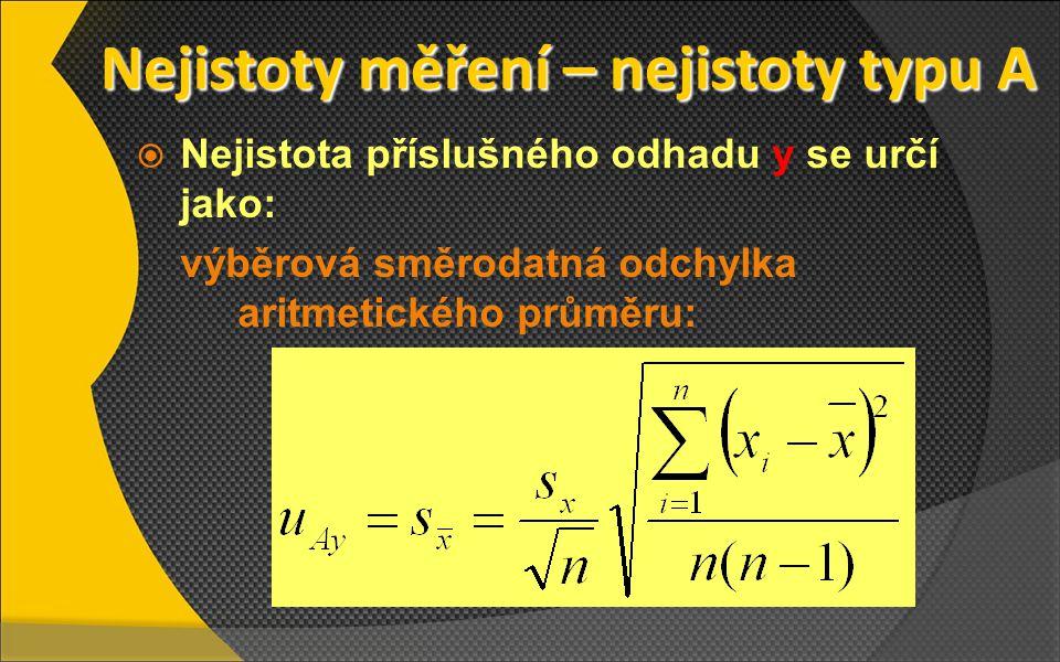 Nejistoty měření – nejistoty typu A Nejistoty měření – nejistoty typu A  Nejistota příslušného odhadu y se určí jako: výběrová směrodatná odchylka ar