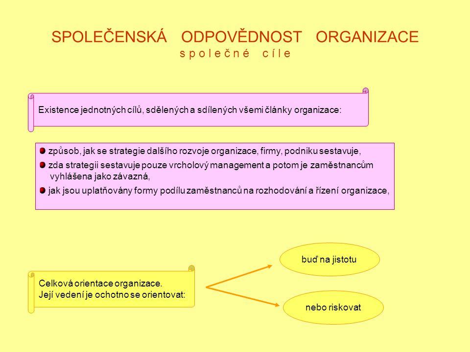 SPOLEČENSKÁ ODPOVĚDNOST ORGANIZACE s p o l e č n é c í l e Existence jednotných cílů, sdělených a sdílených všemi články organizace: způsob, jak se strategie dalšího rozvoje organizace, firmy, podniku sestavuje, zda strategii sestavuje pouze vrcholový management a potom je zaměstnancům vyhlášena jako závazná, jak jsou uplatňovány formy podílu zaměstnanců na rozhodování a řízení organizace, Celková orientace organizace.