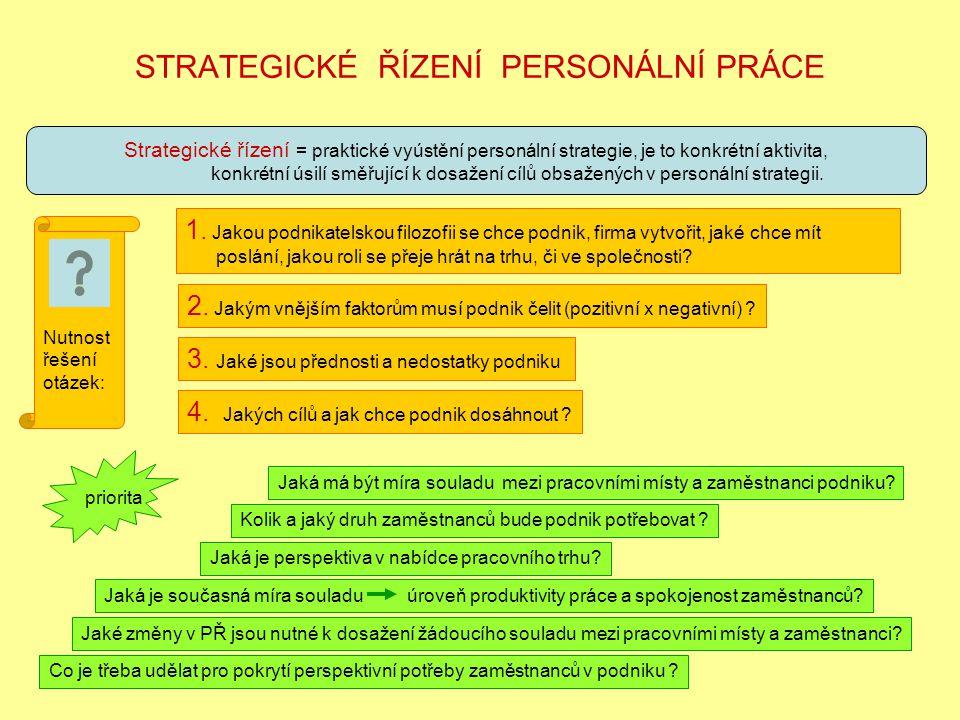 STRATEGICKÉ ŘÍZENÍ PERSONÁLNÍ PRÁCE Strategické řízení = praktické vyústění personální strategie, je to konkrétní aktivita, konkrétní úsilí směřující k dosažení cílů obsažených v personální strategii.