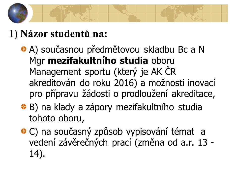 1) Názor studentů na: A) současnou předmětovou skladbu Bc a N Mgr mezifakultního studia oboru Management sportu (který je AK ČR akreditován do roku 20