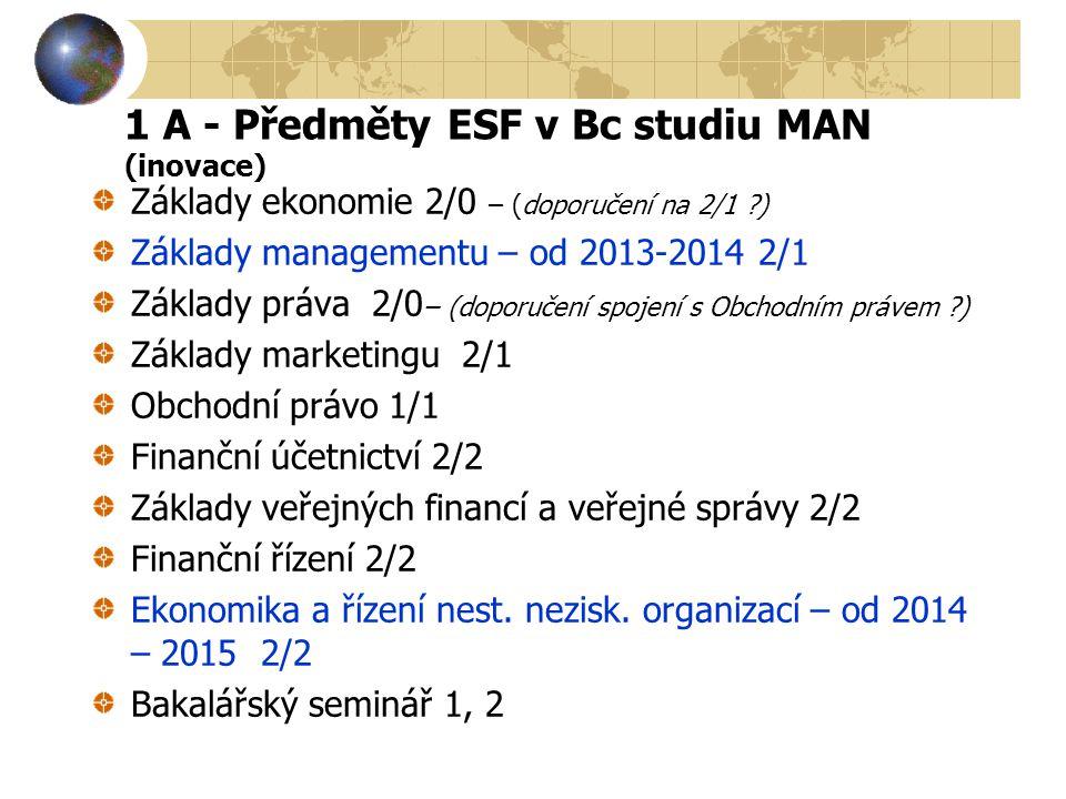 1 A - Předměty ESF v Bc studiu MAN (inovace) Základy ekonomie 2/0 – (doporučení na 2/1 ?) Základy managementu – od 2013-2014 2/1 Základy práva 2/0 – (
