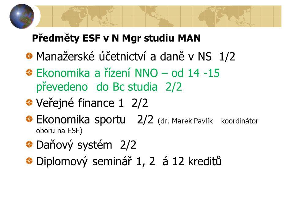 Předměty ESF v N Mgr studiu MAN Manažerské účetnictví a daně v NS 1/2 Ekonomika a řízení NNO – od 14 -15 převedeno do Bc studia 2/2 Veřejné finance 1