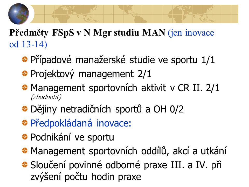 Předměty FSpS v N Mgr studiu MAN (jen inovace od 13-14) Případové manažerské studie ve sportu 1/1 Projektový management 2/1 Management sportovních akt