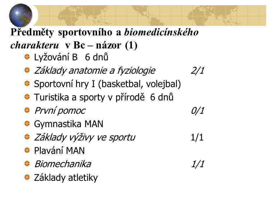 Předměty sportovního a biomedicínského charakteru v Bc – názor (1) Lyžování B 6 dnů Základy anatomie a fyziologie2/1 Sportovní hry I (basketbal, volej