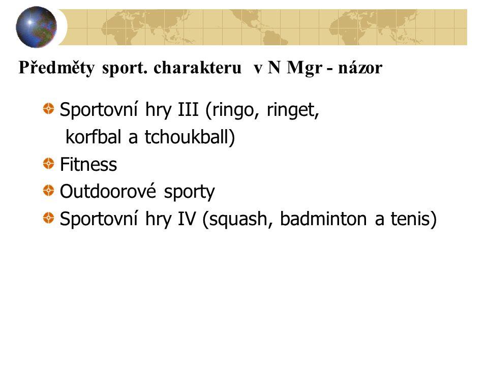 Předměty sport. charakteru v N Mgr - názor Sportovní hry III (ringo, ringet, korfbal a tchoukball) Fitness Outdoorové sporty Sportovní hry IV (squash,