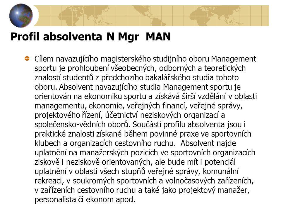Profil absolventa N Mgr MAN Cílem navazujícího magisterského studijního oboru Management sportu je prohloubení všeobecných, odborných a teoretických z
