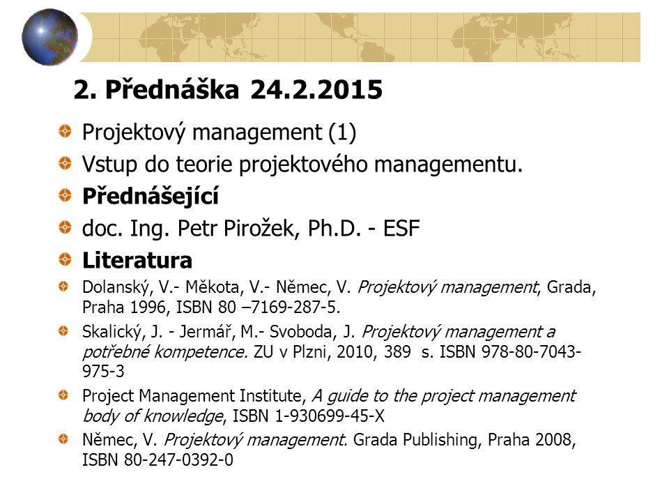 2. Přednáška 24.2.2015 Projektový management (1) Vstup do teorie projektového managementu. Přednášející doc. Ing. Petr Pirožek, Ph.D. - ESF Literatura