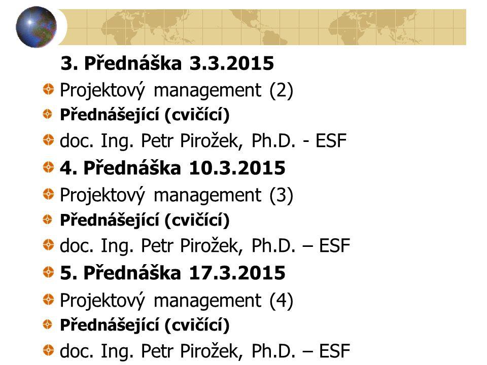 3. Přednáška 3.3.2015 Projektový management (2) Přednášející (cvičící) doc. Ing. Petr Pirožek, Ph.D. - ESF 4. Přednáška 10.3.2015 Projektový managemen