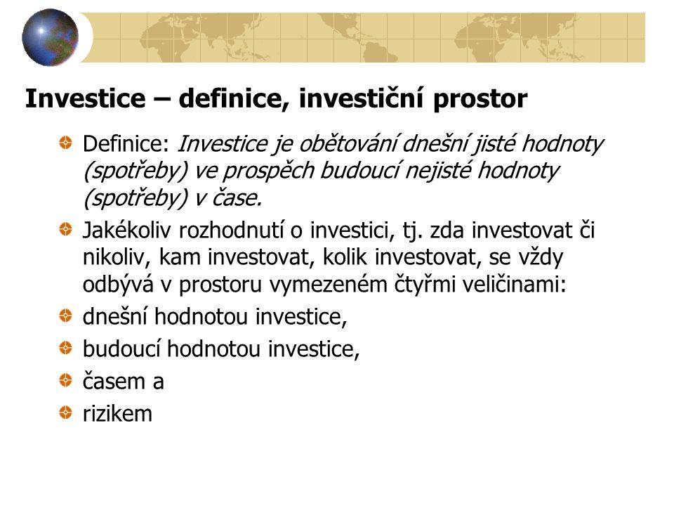 Investice – definice, investiční prostor Definice: Investice je obětování dnešní jisté hodnoty (spotřeby) ve prospěch budoucí nejisté hodnoty (spotřeb