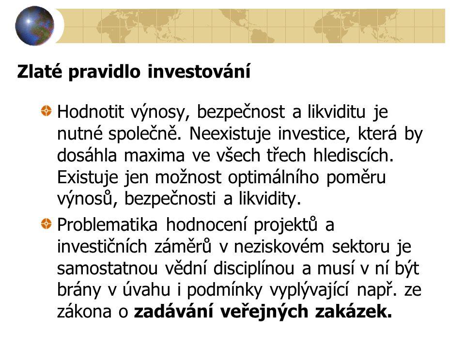 Zlaté pravidlo investování Hodnotit výnosy, bezpečnost a likviditu je nutné společně. Neexistuje investice, která by dosáhla maxima ve všech třech hle