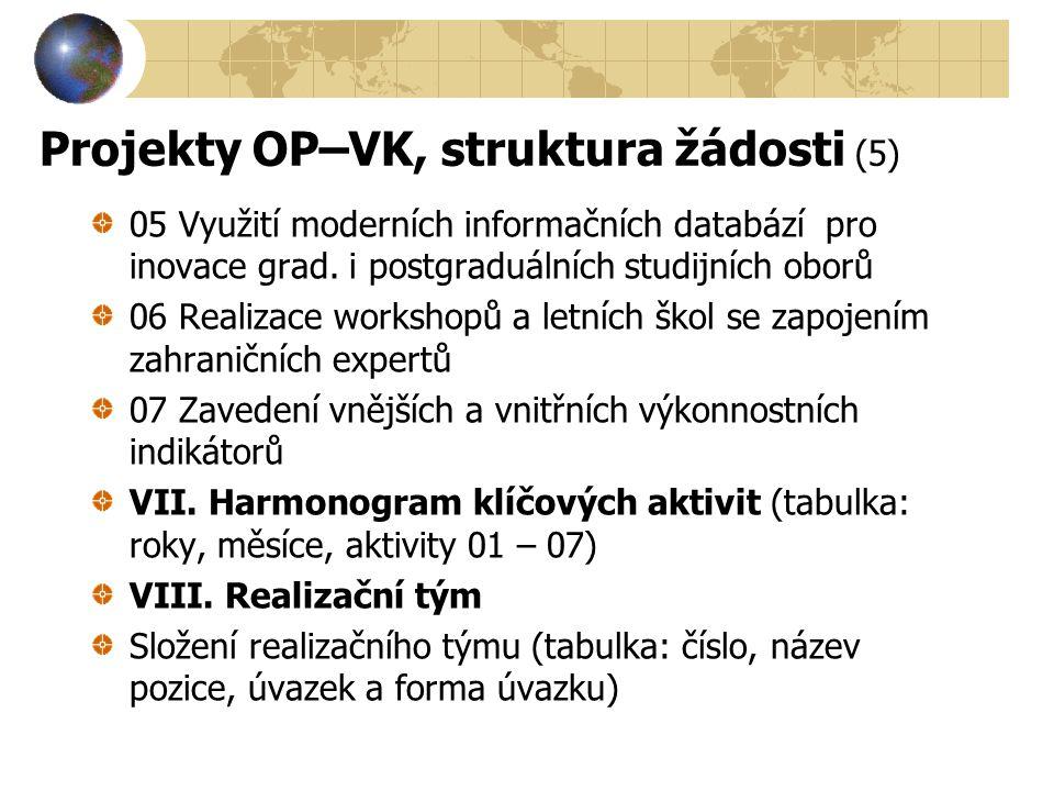 Projekty OP–VK, struktura žádosti (5) 05 Využití moderních informačních databází pro inovace grad. i postgraduálních studijních oborů 06 Realizace wor