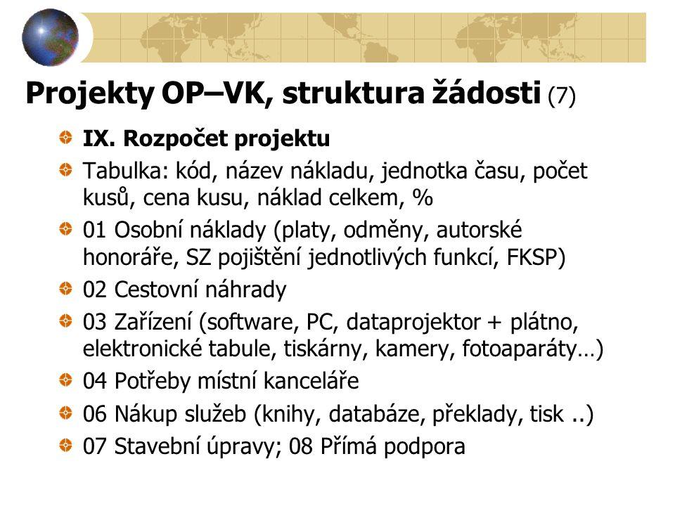 Projekty OP–VK, struktura žádosti (7) IX. Rozpočet projektu Tabulka: kód, název nákladu, jednotka času, počet kusů, cena kusu, náklad celkem, % 01 Oso