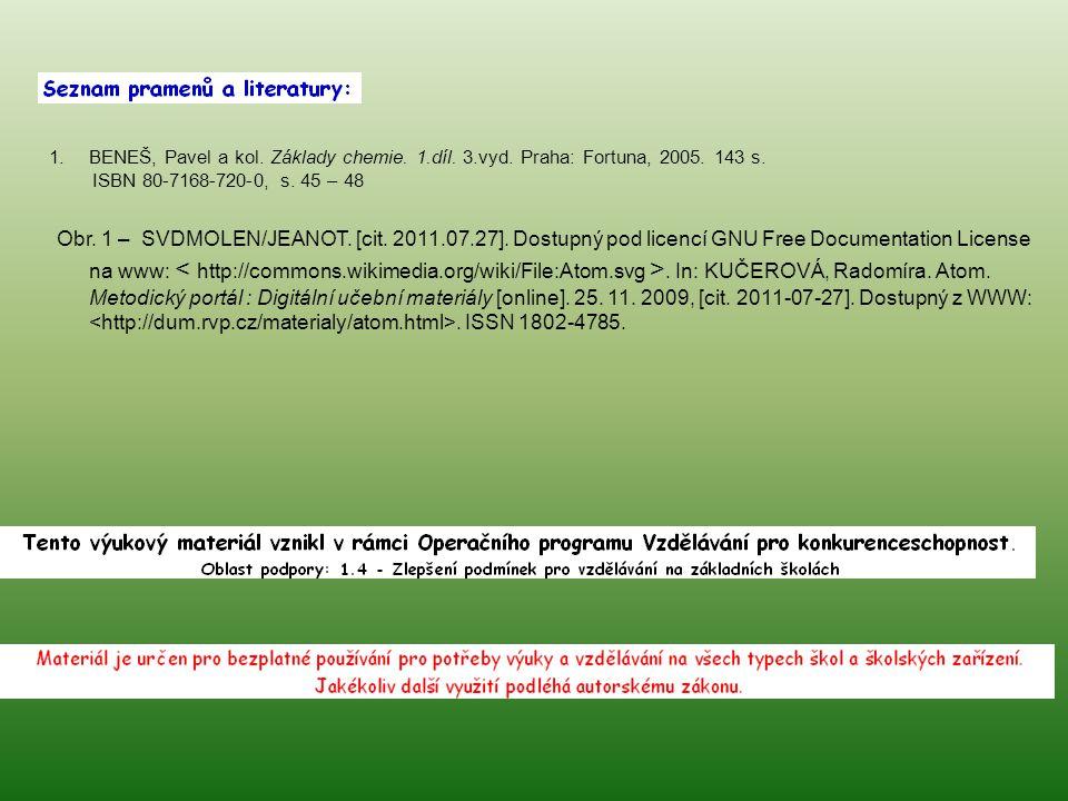 1.BENEŠ, Pavel a kol. Základy chemie. 1.díl. 3.vyd. Praha: Fortuna, 2005. 143 s. ISBN 80-7168-720-0, s. 45 – 48 Obr. 1 – SVDMOLEN/JEANOT. [cit. 2011.0