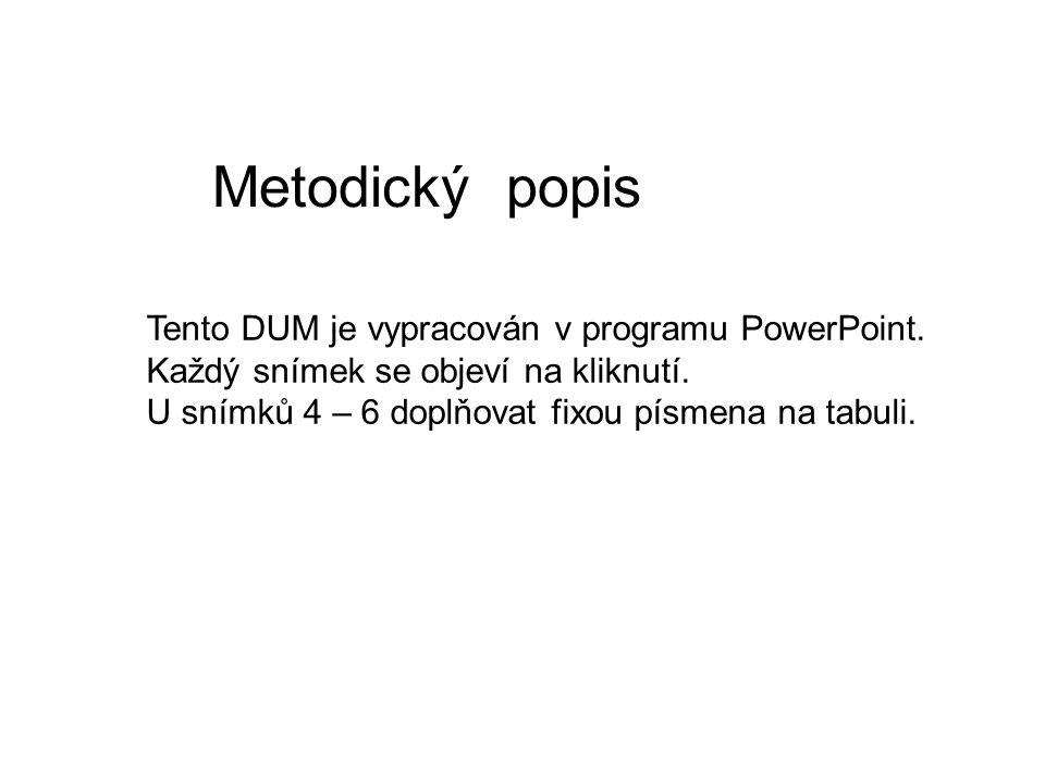 Metodický popis Tento DUM je vypracován v programu PowerPoint.
