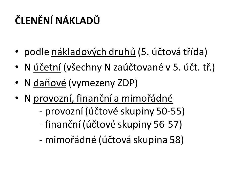ČLENĚNÍ NÁKLADŮ podle nákladových druhů (5. účtová třída) N účetní (všechny N zaúčtované v 5.