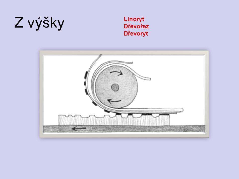 Z výšky Linoryt Dřevořez Dřevoryt
