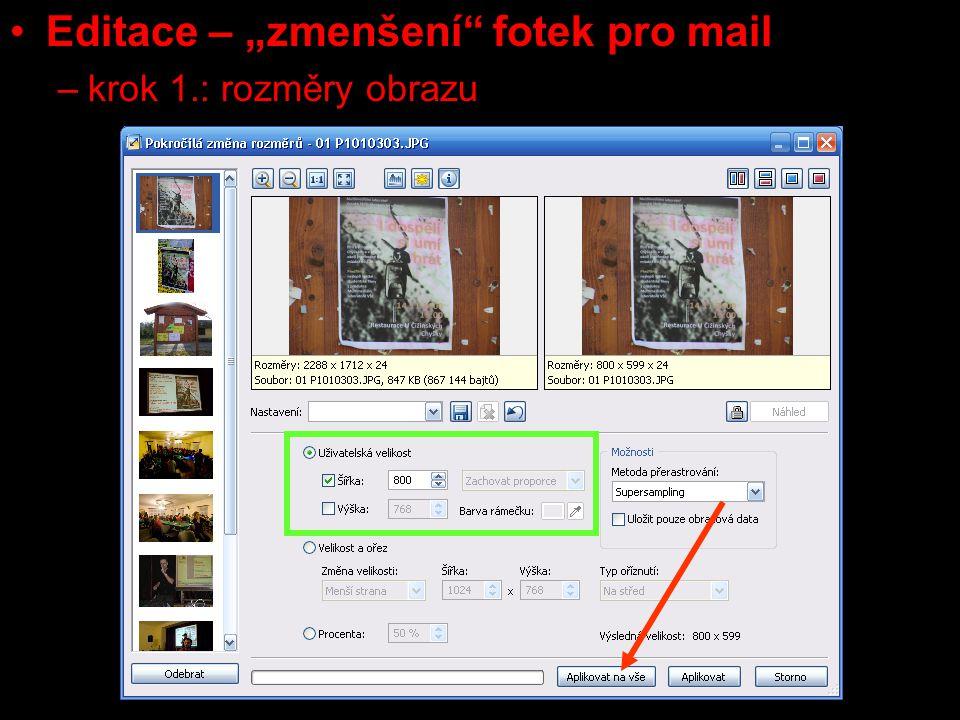 """Editace – """"zmenšení fotek pro mail –krok 1.: rozměry obrazu"""
