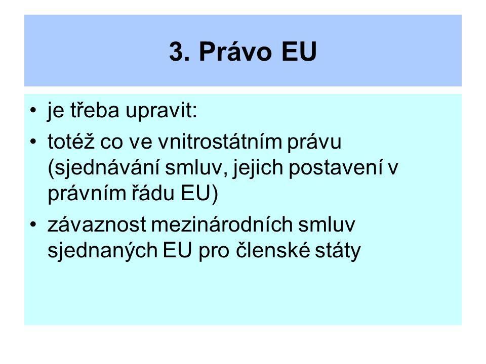 3. Právo EU je třeba upravit: totéž co ve vnitrostátním právu (sjednávání smluv, jejich postavení v právním řádu EU) závaznost mezinárodních smluv sje