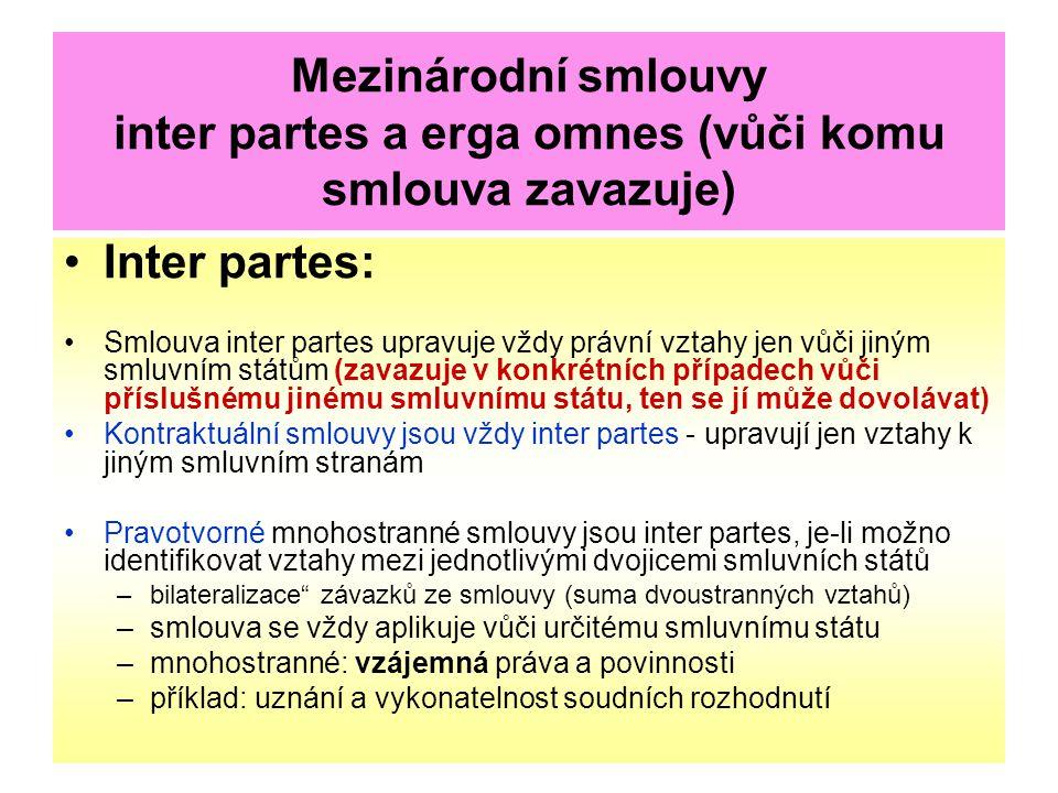Mezinárodní smlouvy inter partes a erga omnes (vůči komu smlouva zavazuje) Inter partes: Smlouva inter partes upravuje vždy právní vztahy jen vůči jin