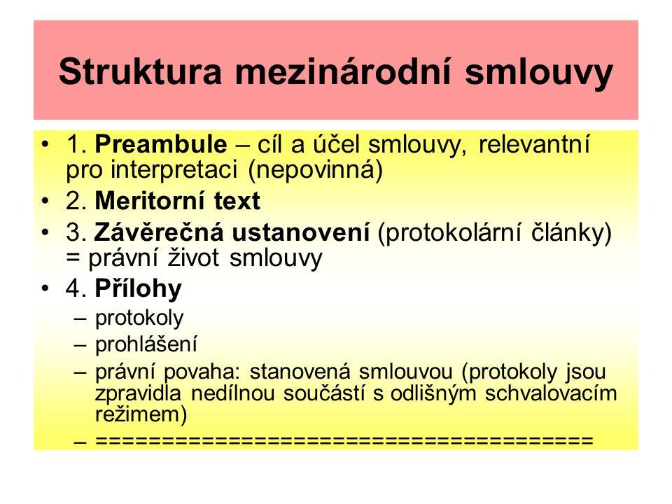 Struktura mezinárodní smlouvy 1. Preambule – cíl a účel smlouvy, relevantní pro interpretaci (nepovinná) 2. Meritorní text 3. Závěrečná ustanovení (pr