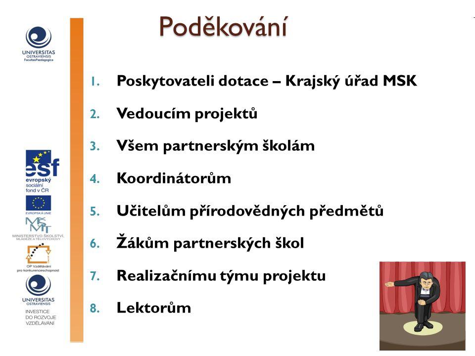 Poděkování Poděkování 1. Poskytovateli dotace – Krajský úřad MSK 2.