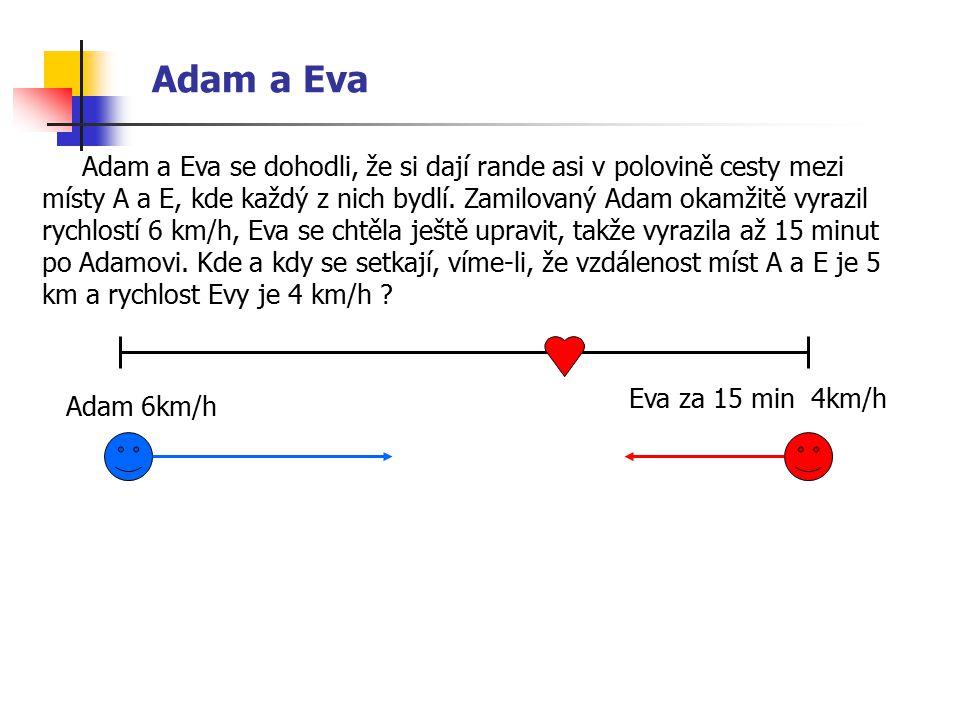 Adam a Eva Adam a Eva se dohodli, že si dají rande asi v polovině cesty mezi místy A a E, kde každý z nich bydlí.