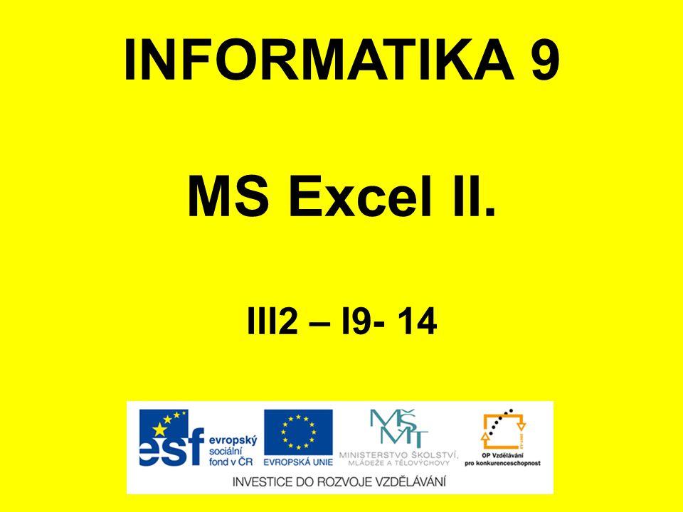 INFORMATIKA 9 MS Excel II. III2 – I9- 14
