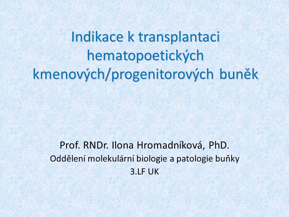 Indikace k transplantaci hematopoetických kmenových/progenitorových buněk Prof. RNDr. Ilona Hromadníková, PhD. Oddělení molekulární biologie a patolog