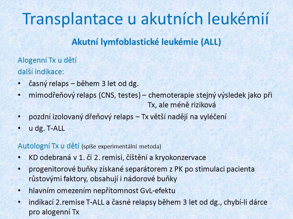 Transplantace u akutních leukémií Akutní lymfoblastické leukémie (ALL) Alogenní Tx u dětí další indikace: časný relaps – během 3 let od dg. mimodřeňov