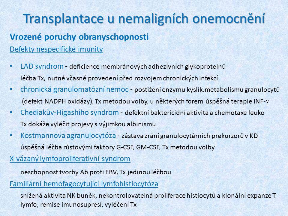 Transplantace u nemaligních onemocnění Vrozené poruchy obranyschopnosti Defekty nespecifické imunity LAD syndrom - deficience membránových adhezívních