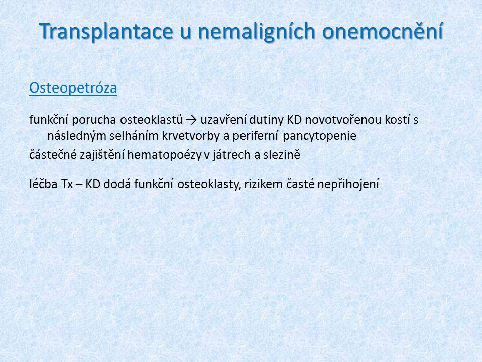Transplantace u nemaligních onemocnění Osteopetróza funkční porucha osteoklastů → uzavření dutiny KD novotvořenou kostí s následným selháním krvetvorb