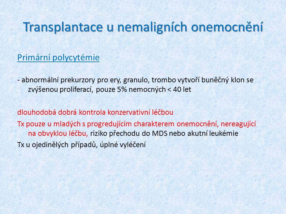 Transplantace u nemaligních onemocnění Primární polycytémie - abnormální prekurzory pro ery, granulo, trombo vytvoří buněčný klon se zvýšenou prolifer