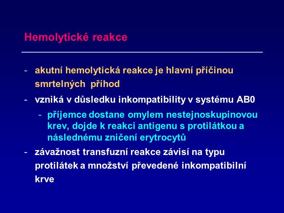 Hemolytické reakce -akutní hemolytická reakce je hlavní příčinou smrtelných příhod -vzniká v důsledku inkompatibility v systému AB0 -příjemce dostane omylem nestejnoskupinovou krev, dojde k reakci antigenu s protilátkou a následnému zničení erytrocytů -závažnost transfuzní reakce závisí na typu protilátek a množství převedené inkompatibilní krve