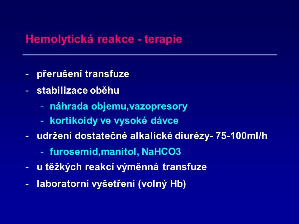 Hemolytická reakce - terapie -přerušení transfuze -stabilizace oběhu -náhrada objemu,vazopresory -kortikoidy ve vysoké dávce -udržení dostatečné alkalické diurézy- 75-100ml/h -furosemid,manitol, NaHCO3 -u těžkých reakcí výměnná transfuze -laboratorní vyšetření (volný Hb)