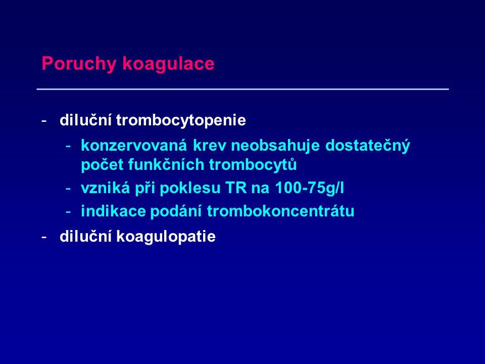 Poruchy koagulace -diluční trombocytopenie -konzervovaná krev neobsahuje dostatečný počet funkčních trombocytů -vzniká při poklesu TR na 100-75g/l -indikace podání trombokoncentrátu -diluční koagulopatie