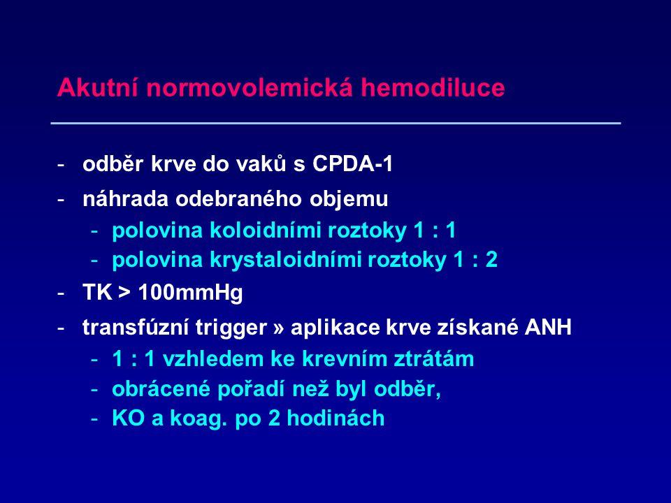 Akutní normovolemická hemodiluce -odběr krve do vaků s CPDA-1 -náhrada odebraného objemu -polovina koloidními roztoky 1 : 1 -polovina krystaloidními roztoky 1 : 2 -TK > 100mmHg -transfúzní trigger » aplikace krve získané ANH -1 : 1 vzhledem ke krevním ztrátám -obrácené pořadí než byl odběr, -KO a koag.