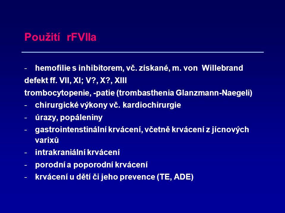 Použití rFVIIa -hemofilie s inhibitorem, vč.získané, m.