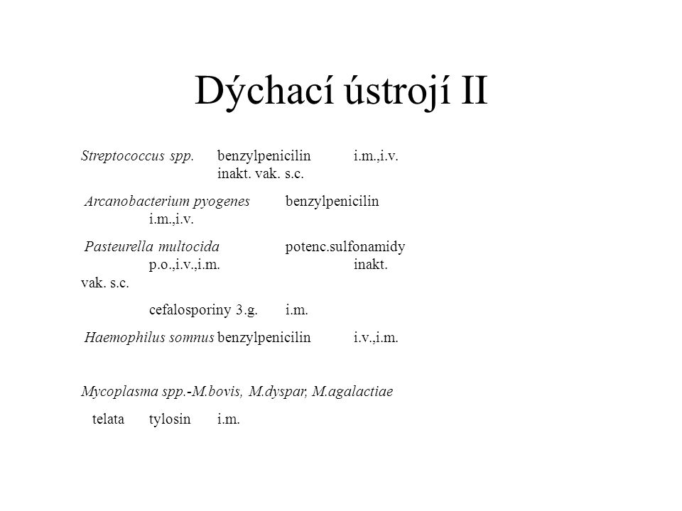 Dýchací ústrojí II Streptococcus spp.benzylpenicilini.m.,i.v.